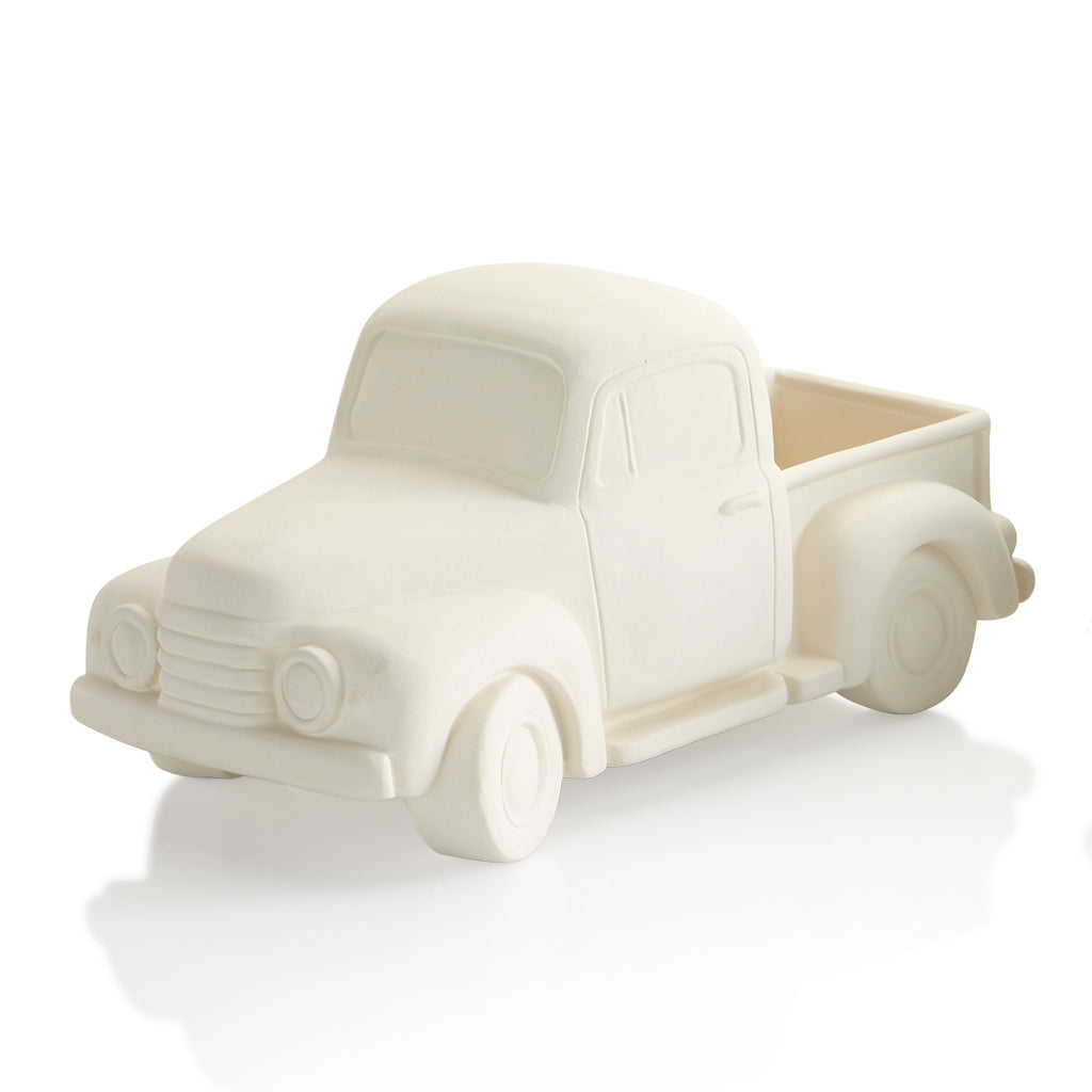 A classic, the ceramic vintage pickup truck has character and style. It can be painted to look antique, brand new, holiday themed… the possibilities are endless.   Fill this ceramic vintage truck bed with fun tiny toppers such as pumpkins or apples.