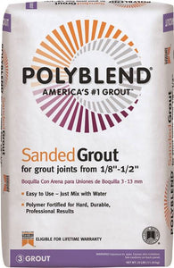 Polyblend Sanded white grout is easy to use.  Just add water.  Grout is included with all mosaic kits.  Additional grout is available for purchase.