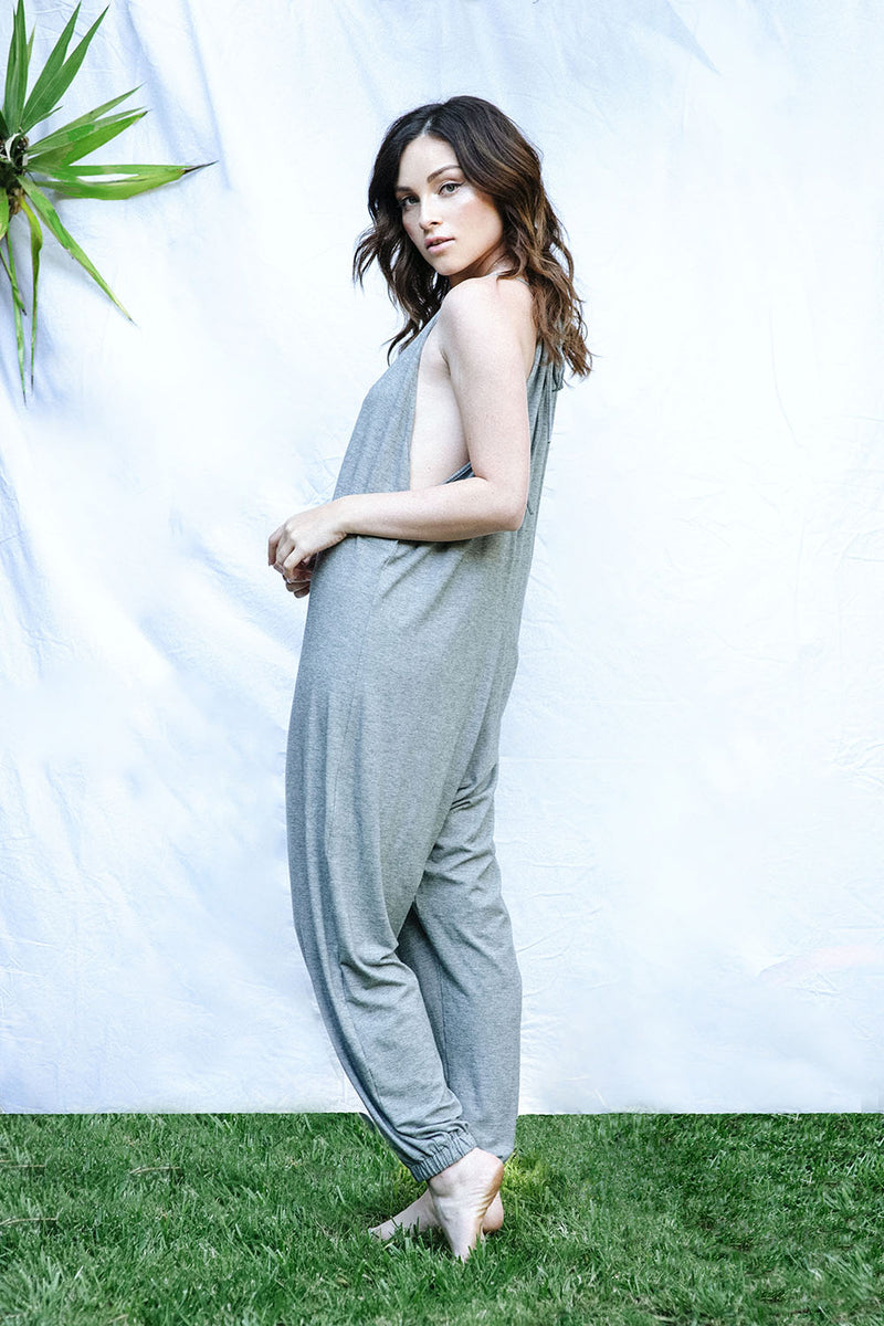 The Bianca Jumpsuit (Grey Micro Stripe)