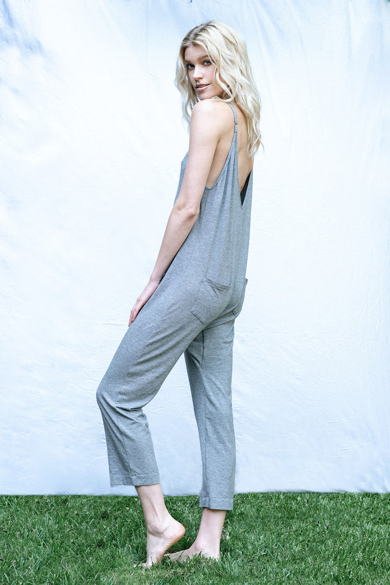 The Brigitte Jumpsuit (Grey Micro Stripe)