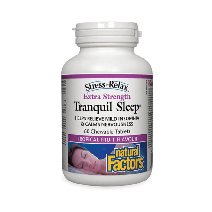 Natural Factors Extra Strength Tranquil Sleep 60 Chewable Tablets - herbesthealth