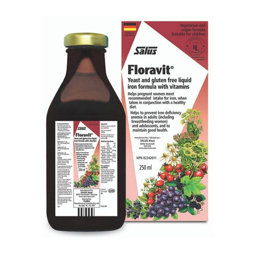 Floravit Yeast and Gluten Free Liquid Iron Formula with Vitamins