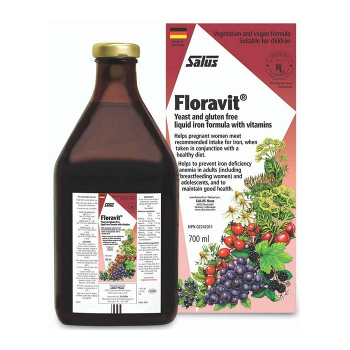 Floravit Yeast and Gluten Free Liquid Iron Formula with Vitamins - herbesthealth