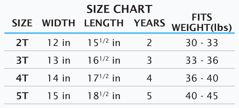 Size Chart Little Kids T-Shirt