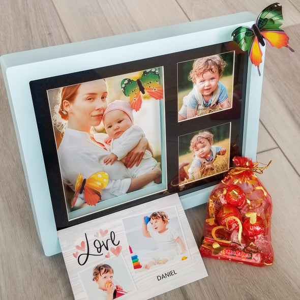 Decor - Custom Gift Set, 3D LIGHT BLUE Photo Frame, 5 Photos, Fridge Magnet & More - Fantastic Gifts