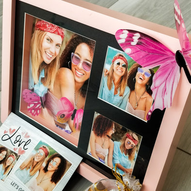 Decor - Custom Gift Set, 3D PINK Photo Frame, 5 Photos, Fridge Magnet & More - Fantastic Gifts