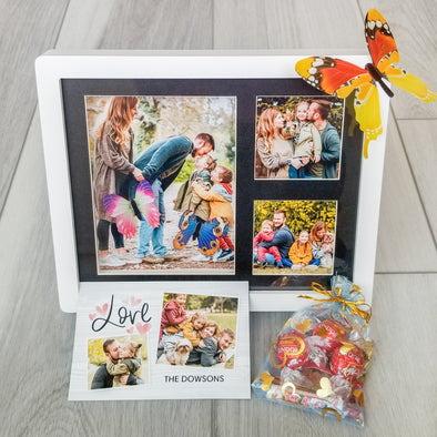 Decor - Custom Gift Set, 3D WHITE Photo Frame, 5 Photos, Fridge Magnet & More - Fantastic Gifts