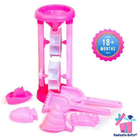Toys - Pink Beach Toys Set with Sand Wheel - Fantastic Gifts