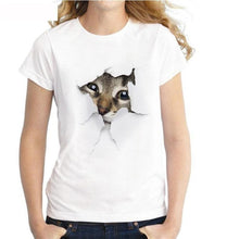 Load image into Gallery viewer, 2019 women 3D cute cat print T-shirt