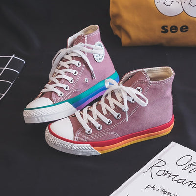 Women Rainbow Sole Canvas Sneakers