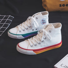 Load image into Gallery viewer, Women Rainbow Sole Canvas Sneakers