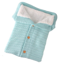 Load image into Gallery viewer, Newborn Baby Winter Warm Sleeping Bags Infant Button Knit Swaddle Wrap Swaddling Stroller Wrap Toddler Blanket Sleeping Bags