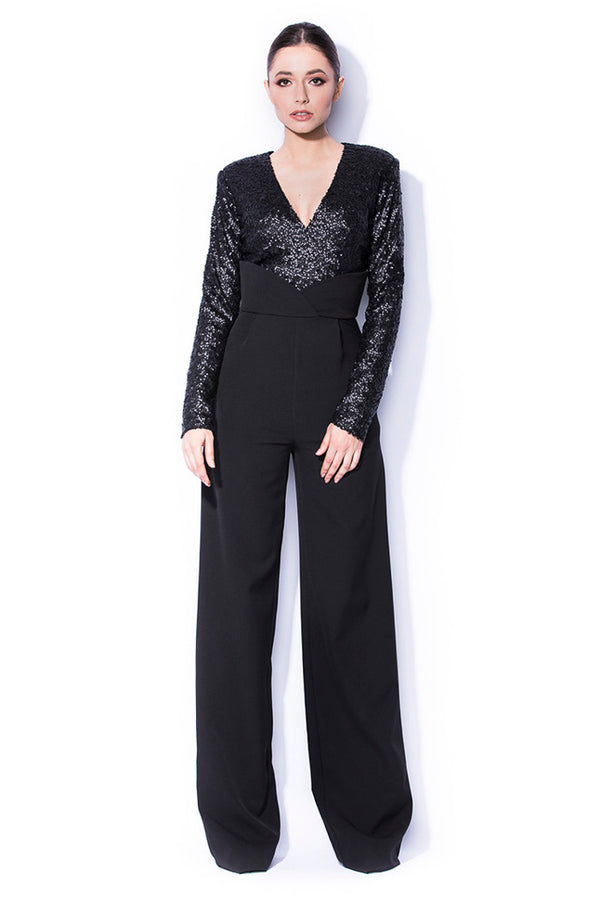 Evening jumpsuit with sequin bust - OWN THE NIGHT