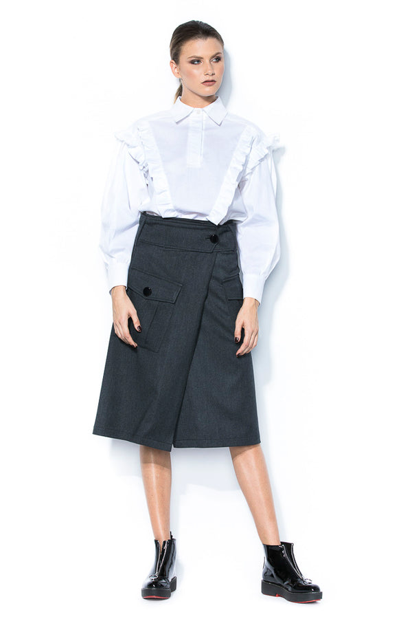 Poplin shirt with ruffles