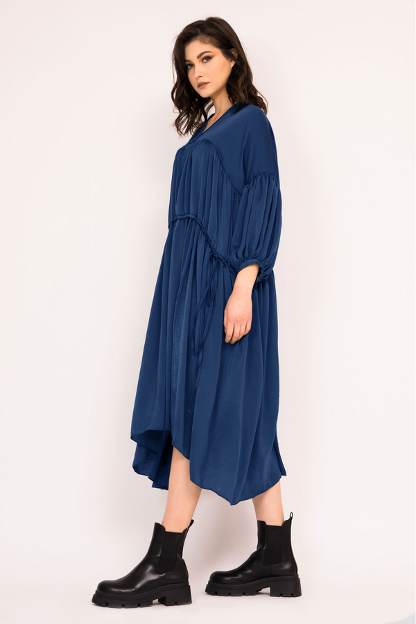 Loose navy midi dress with double drawstring waist