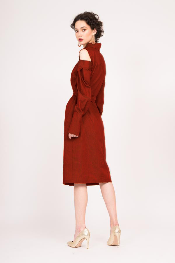 Red Shirt-dress with cut-out shoulders