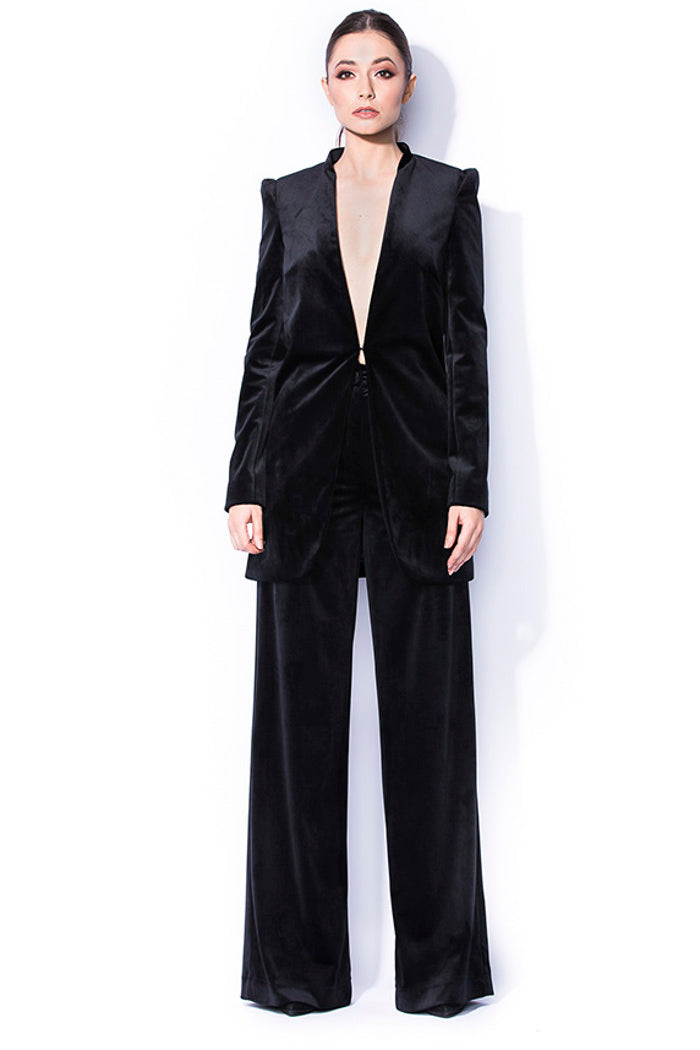 VELVET SUIT WITH WIDE TROUSERS