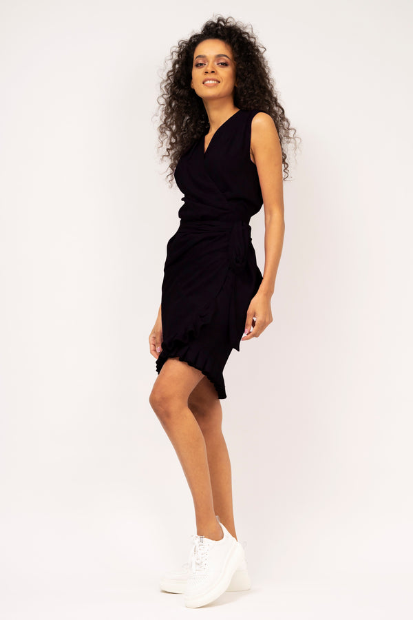 Wrapped dress with ruffled hemline