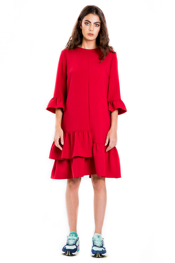Dress with overlapping ruffles