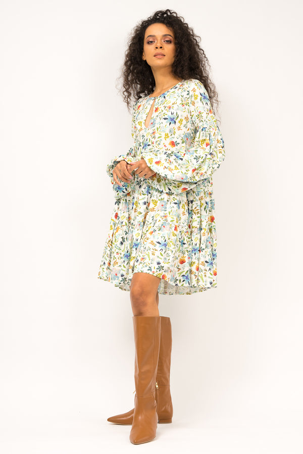 Mini printed dress with puffy sleeves