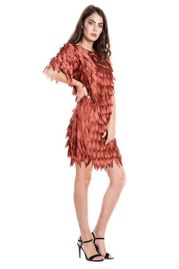 Satin feather mini dress