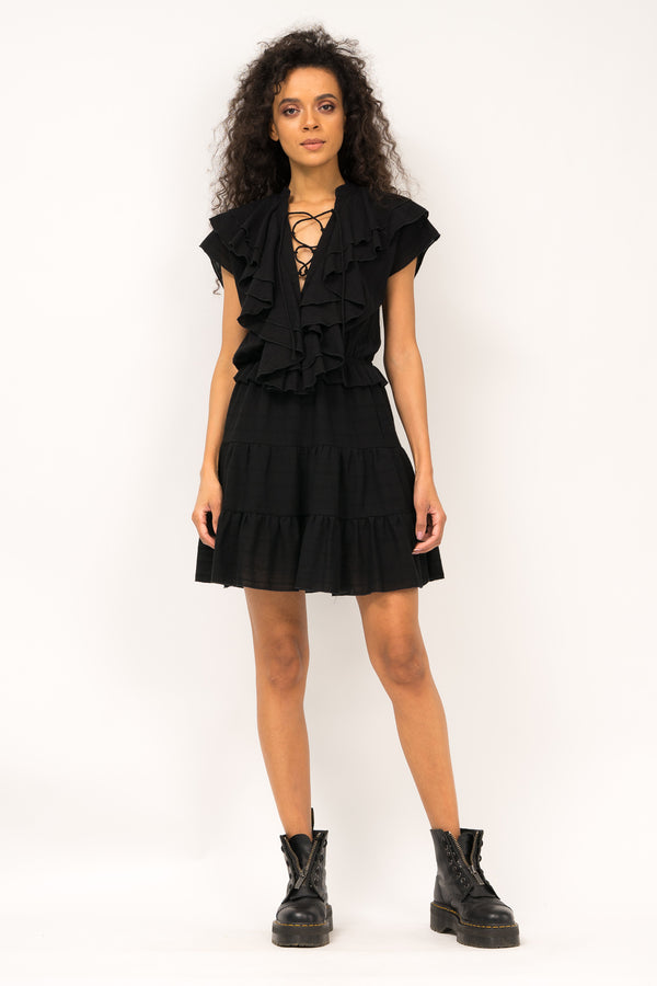 Mini dress with ruffles and details on the neckline area