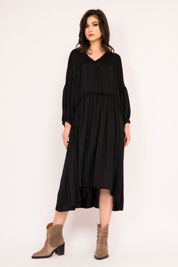 LOOSE black MIDI DRESS WITH DOUBLE DRAWSTRING WAIST