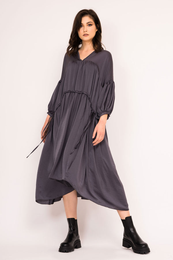 Loose grey midi dress with double drawstring waist