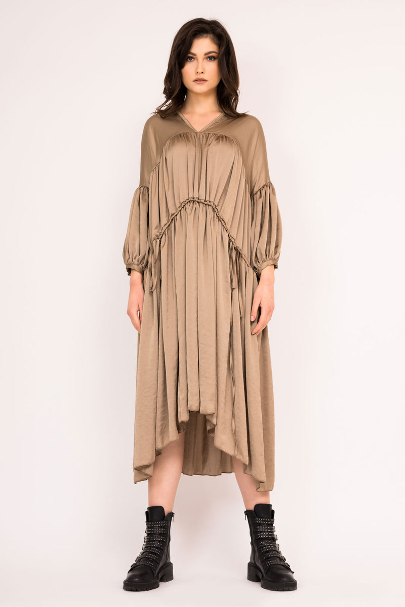 Loose light khaki midi dress with double drawstring waist
