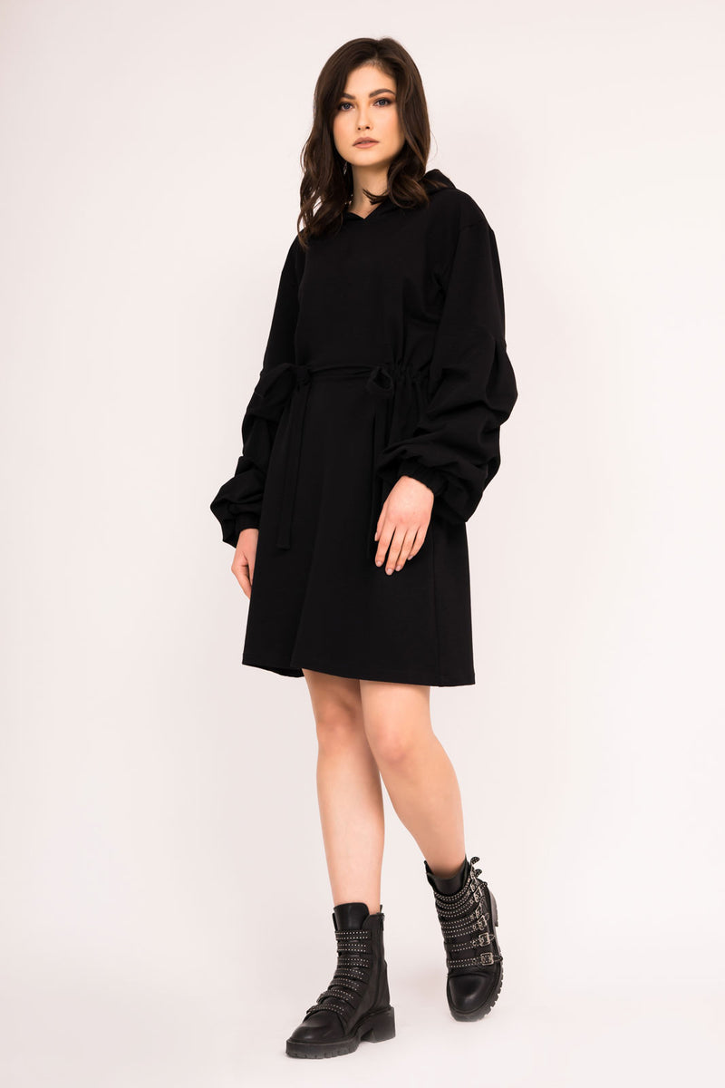 Mini knitted hoodie dress with puffed sleeves