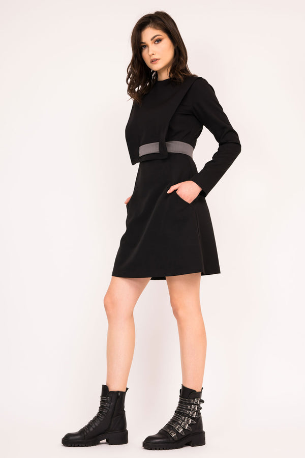 Black fitted mini dress with contrasting belt