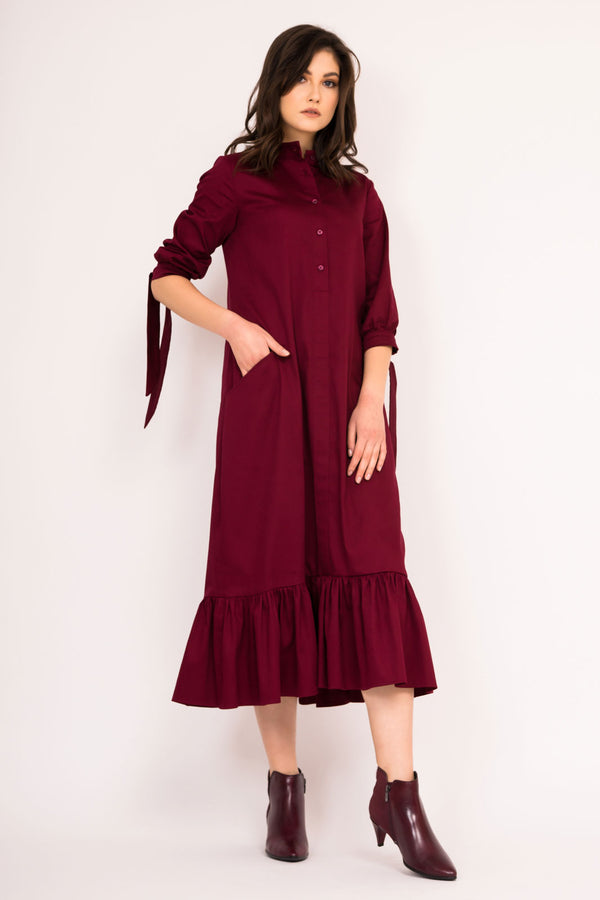 Midi dress with tied  sleeves and a frilled hem