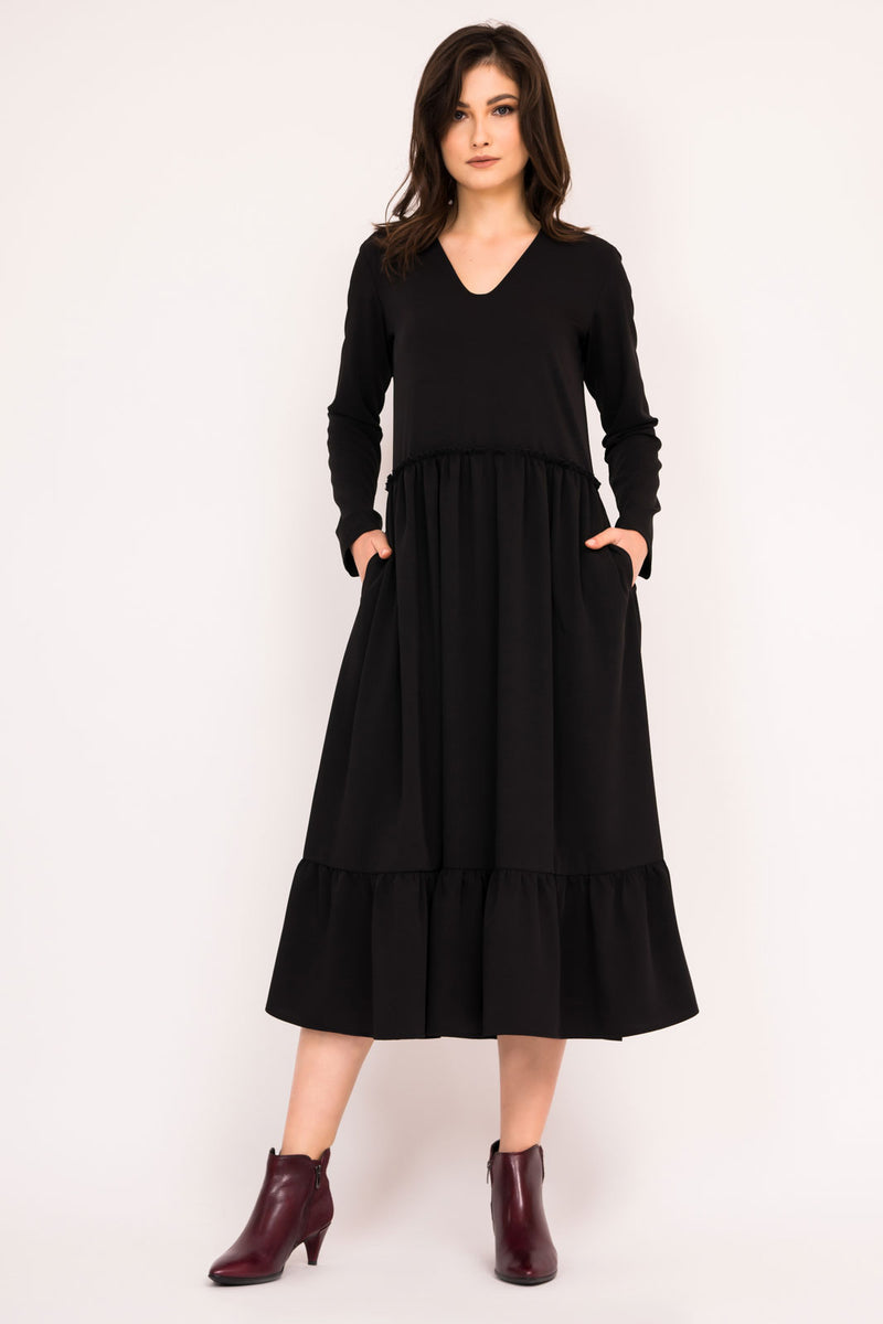 Black tiered ruffle dress with V neck and pockets