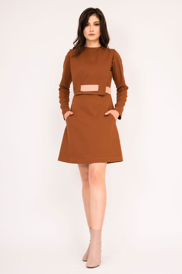 Caffe fitted mini dress with unique neck to waist belt detail