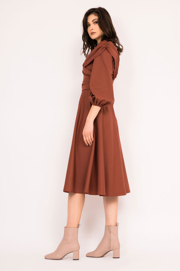 Caffe off the shoulder dress with cinched waist