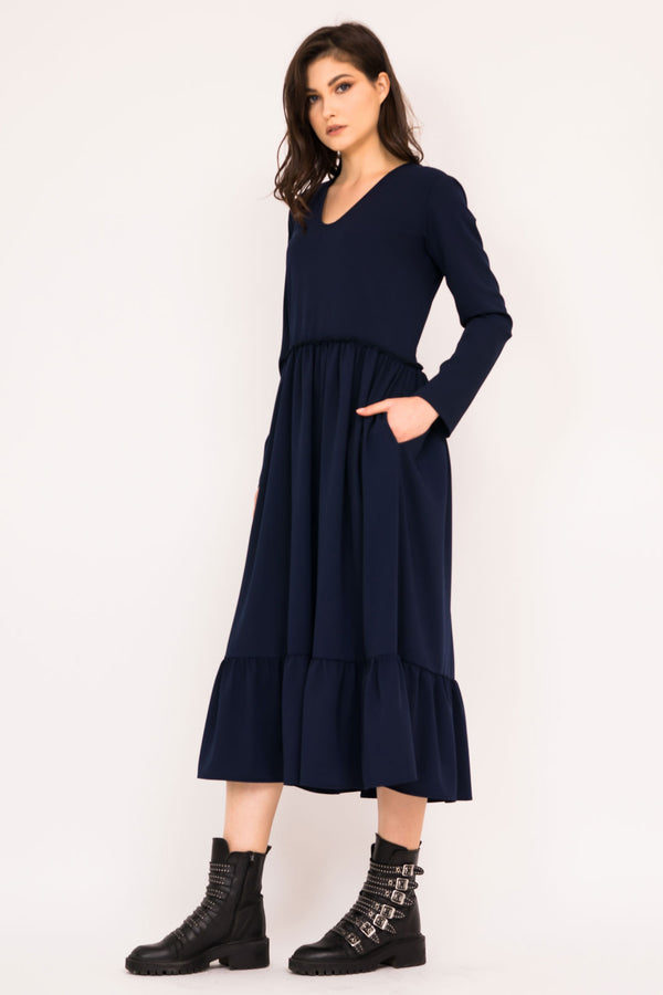 Navy tiered ruffle dress with V neck