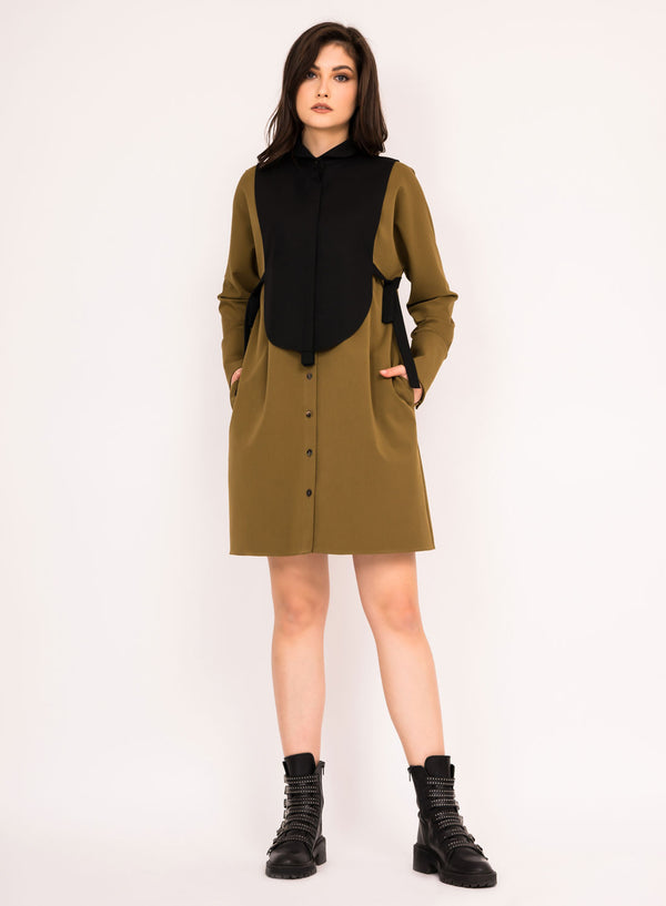 Midi button up dress with detachable vest and oversized cuffs