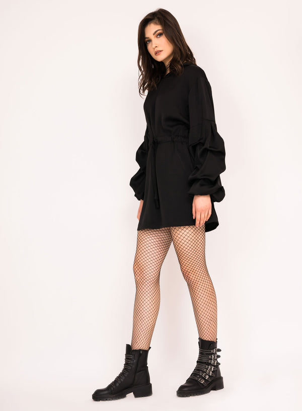 Mini dress with puffed sleeves and hoodie