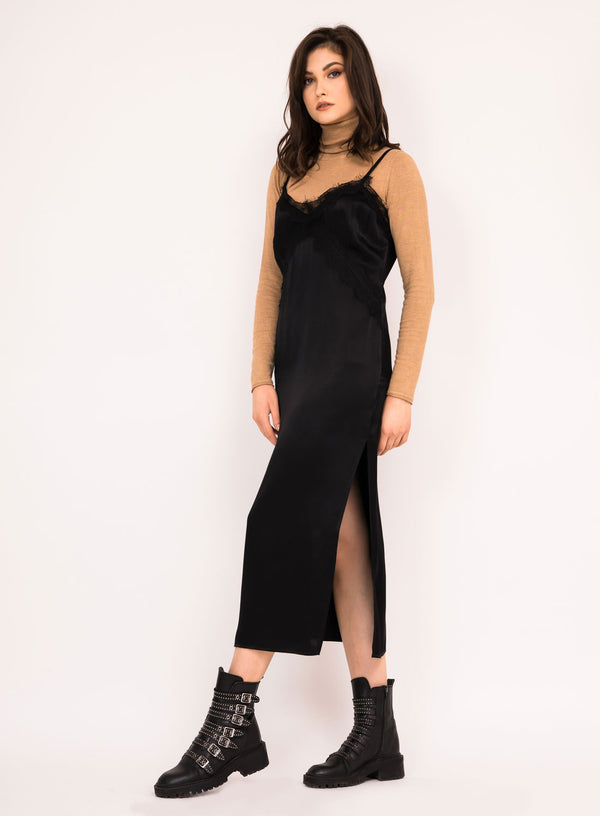 Slip dress with cotton lace insert