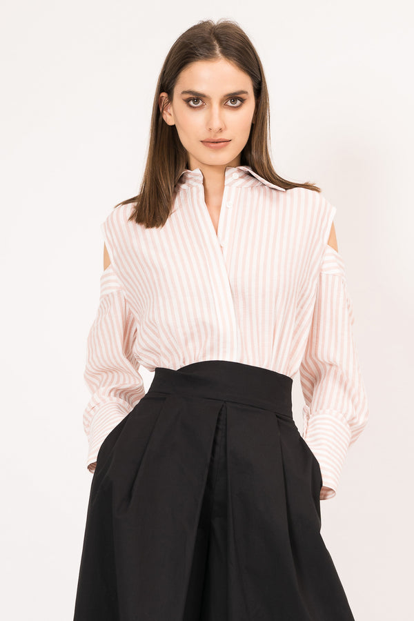 Structured shirt with cut-out shoulders