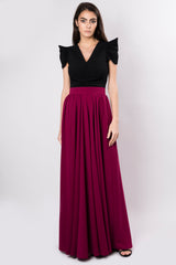 Cotton blend maxi skirt