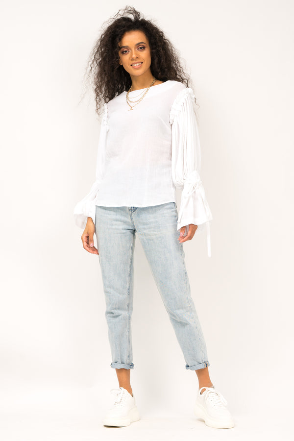 Canvas blouse with bell sleeves and string cuffs