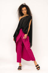 Fuchsia pants with skirt