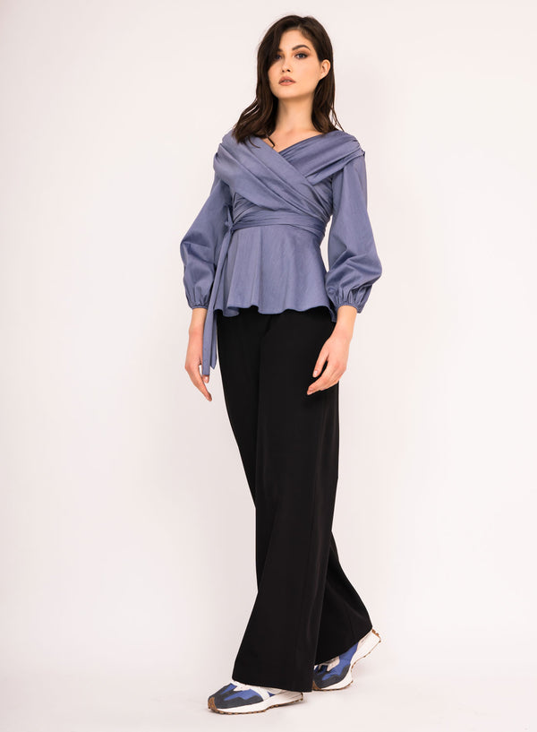 Wrap around top with waist tie and back zipper closure