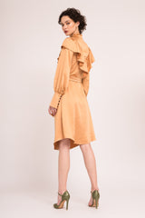 Shirt dress with ruffled collar and oversized cuffs