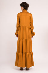 Long gathered dress with tie cuffs