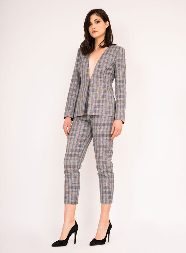 Checkered cigarette pants