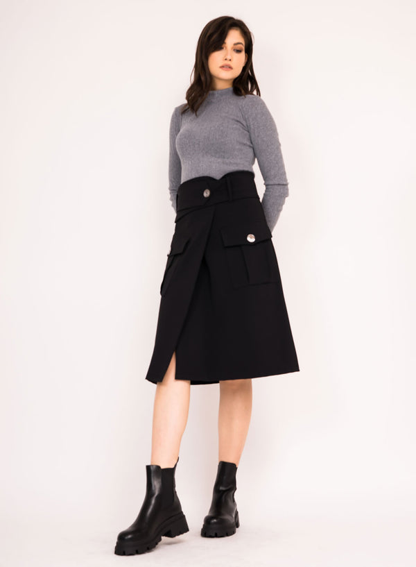 Midi skirt with pockets