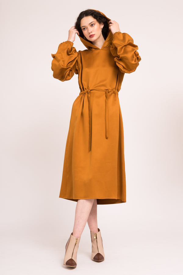 Midi dress with puffed sleeves and drawstring waist