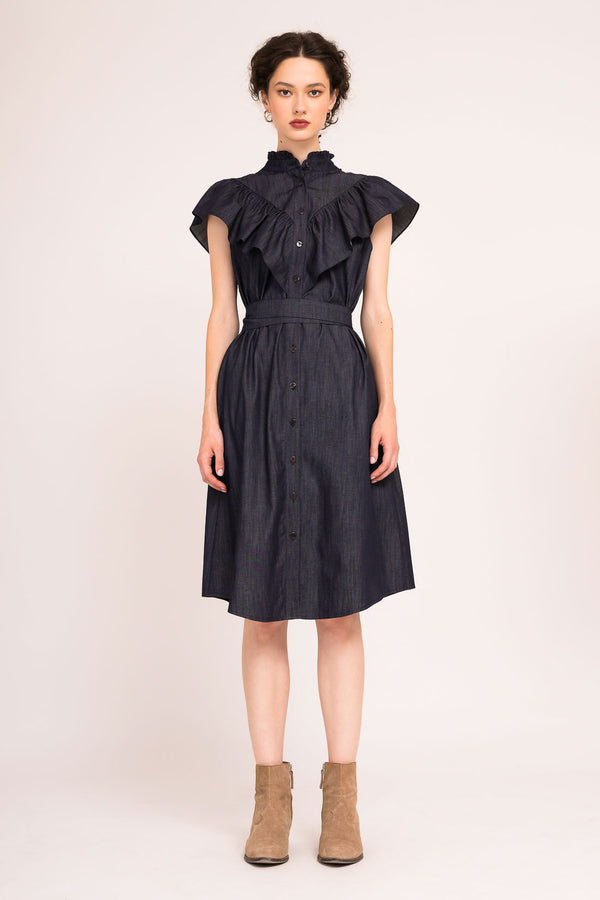 Dress with short frilled sleeves